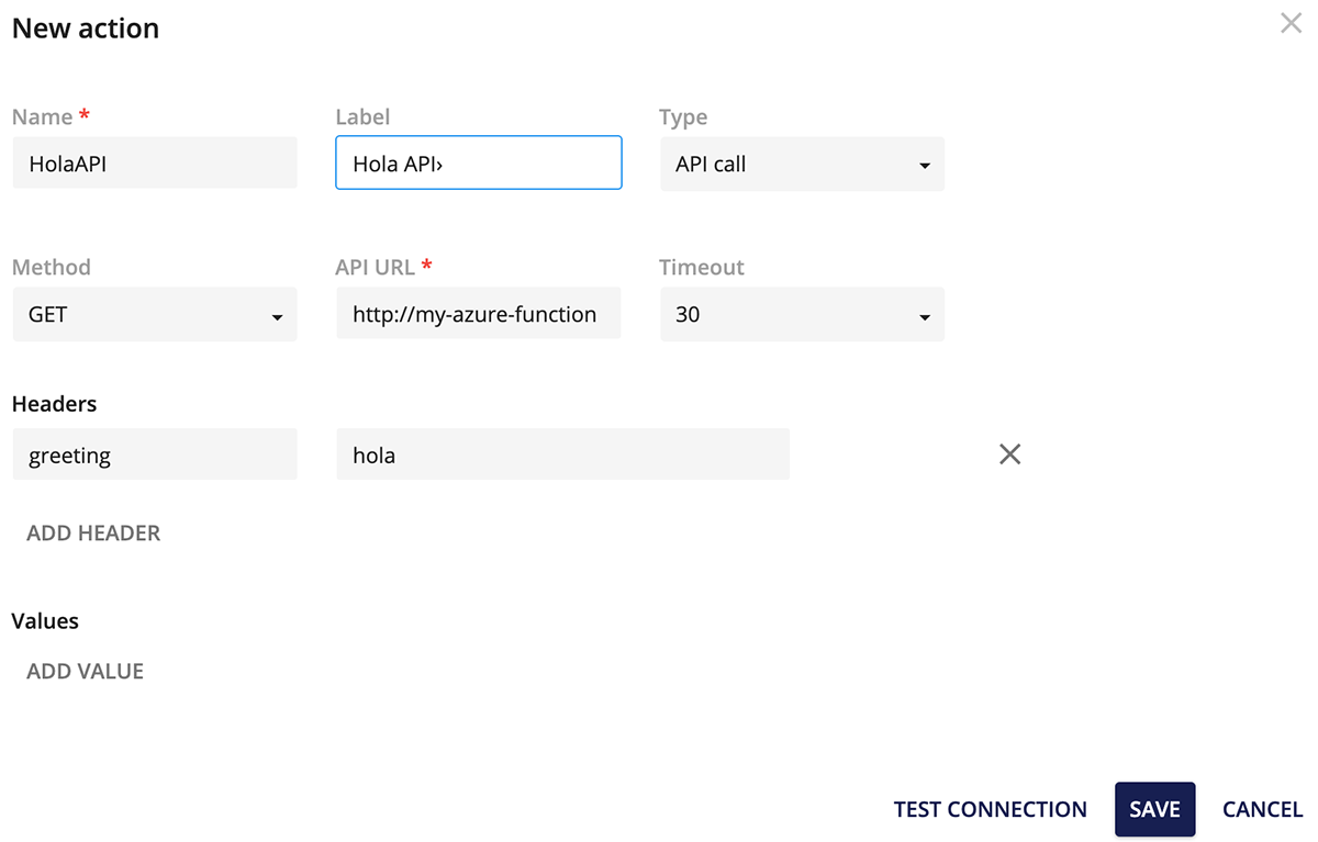 Action API Call Configuration
